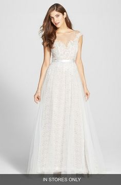 Watters 'Farah' Tulle, Lace & Charmeuse Gown (In Stores Only) available at #Nordstrom