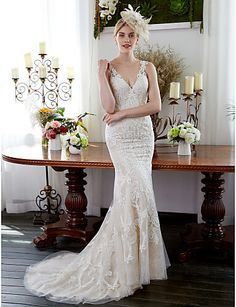 Mermaid / Trumpet V Neck Sweep / Brush Train All Over Lace Made-To-Measure Wedding Dresses with Appliques / Buttons by LAN TING BRIDE® / See-Through / Beautiful Back