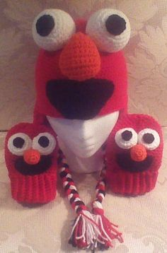 Elmo Hat & Mitts - Crochet creation by Craftybear