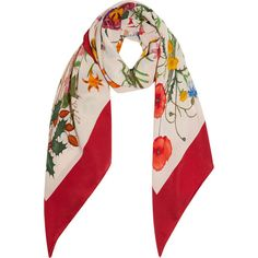 Gucci Printed silk-twill scarf (13505 TWD) ❤ liked on Polyvore featuring accessories, scarves, red, multi colored scarves, colorful scarves, gucci, red scarves and tie scarves