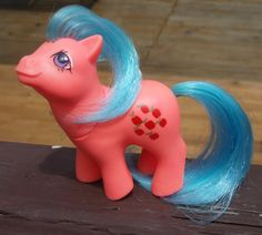 Baby Applejack from Argentina. Very different looking with a pink body and blue hair!