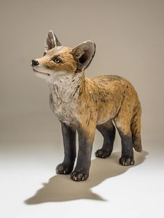 Fox sculpture in bronze resin by award winning wildlife artist Nick Mackman, one available for immediate delivery worldwide. Pottery Animals, Ceramic Animals, Clay Animals, Ceramic Art, Art Sculpture, Animal Sculptures, Ceramic Sculptures, Clay Fox, Paper Mache Animals
