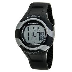 Freestyle 101183 Men's Workout 75-Lap Grey Dial Black Rubber Strap Alarm Digital Watch