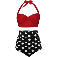 Amazon.com: Angerella Women Polka High Waisted Bikinis Swimsuits... ($24) ❤ liked on Polyvore featuring swimwear, bikinis, high-waisted bikini, high waisted swim suit, 2 piece swimsuits, two piece swimsuits and swim suits