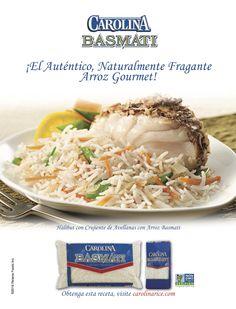 Nuestra receta de Halibut con Crujiente de Avellanas con Arroz Basmati en la edición de Mayo de Vanidades US.