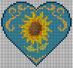 Wouldn't this make the most beautiful crochet/cross stitch pillow for that special chair in your house! Of course, I want to make a purse/bag like this! ☀CQ Thanks so much for sharing! Cross Stitch Pillow, Cross Stitch Heart, Cross Stitch Flowers, Counted Cross Stitch Patterns, Cross Stitch Designs, Embroidery Hearts, Cross Stitch Embroidery, Sunflower Hearts, Crochet Shell Stitch
