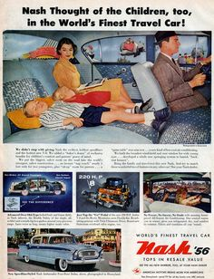 Vintage Ad. That kid is gonna launch like a rocket when daddy slams on the brakes!