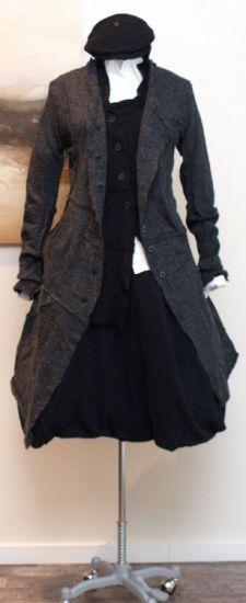 rundholz - Strickmantel gekochte Wolle anthra - Winter 2013