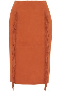 TAMARA MELLON Fringed Suede Pencil Skirt -   Tamara Mellon's burnt-orange suede pencil skirt nods to Fall '14's Western trend with its fringed trims and whipstitched detailing. It's designed for a sleek fit and the center panel shapes and slims your hips