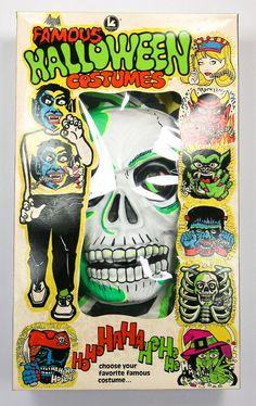 Vintage Skeleton Halloween Mask Costume Skull Kusan Collegeville Ben Cooper #Kusan Spider Man Halloween, Halloween Skeletons, Halloween Masks, Tales From The Crypt, Horror Monsters, Looney Tunes, Boxer, Spiderman, Skull