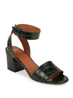 e21ad5557f48 Givenchy - Paris Croc-Embossed Leather Block Heel Sandals Givenchy Paris
