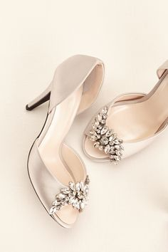 (PINTEREST PRESALE) Satin Peep Toe Pump with Brooch Shown in Mystic | Wonder by Jenny Packham exclusively at David's Bridal