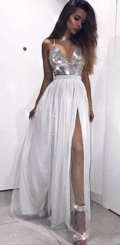 2ee787955f2 Spaghetti Strap V Neck Silver Prom Dresses with Slit Cheap Sexy Formal Dress  ARD1738