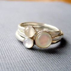 Purity stack- White mother of pearl and moonstone ring stack