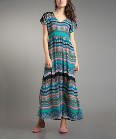 Look at this Turquoise Tribal Maxi Dress on #zulily today!