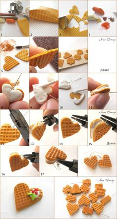 Waffle Hearts Tutorial for Fimo or Polymer Clay. Get FIMO here… Crea Fimo, Polymer Clay Kunst, Cute Polymer Clay, Cute Clay, Polymer Clay Miniatures, Fimo Clay, Polymer Clay Projects, Polymer Clay Charms, Polymer Clay Creations