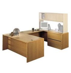 U-Shaped Office Desk with Right Lateral Credenza. Renovating, redecorating or updating your workspace? Hertz Furniture offers a variety of office furniture pieces that will fit your needs and budget. http://www.hertzfurniture.com/office-furniture.html
