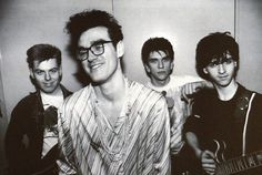 The Smiths backstage at Reading University on February 22, 1984 ― photo by Tom Sheehan.