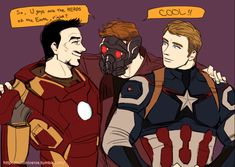 Star-Lord meets Tony and Steve.  (Art by nutuniverse)