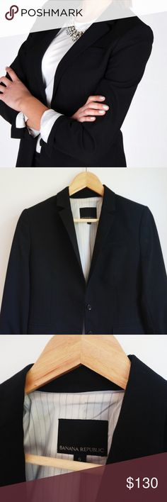 Banana Republic Blazer 🍌 Absolutely gorgeous lightweight slim cut wool black Banana Republic Blazer 😻✨ Nice and thick - perfect for the fall/winter! SIZE: 6 WORN 2x PERFECT CONDITION Banana Republic Jackets & Coats Blazers
