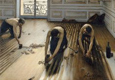"""The Floor Scrapers, Calliebotte, oil on canvas, 1875. Artist submitted painting to French Salon jury, canvas was rejected, caught eye of impressionists: invited artist to show his work the following year at their second exhibition, hanging alongside Degas, Renoir, Sisley, Monet, gained attention. Critics: praised shirtless urban laborers for realism. Conservative reviewers found offensive, writing: """"Do nudes, but do beautiful nudes, or don't do them at all!"""""""