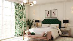 Chic and elegant bedroom interior in two very trendy colors: emerald green and dusty pink, with gold accessories. Emerald Green Bedrooms, Emerald Bedroom, Dusty Pink Bedroom, Green And White Bedroom, Green Master Bedroom, Pink Bedrooms, Master Bedrooms, Green And Gold, Gold Bedroom Decor
