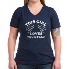 Cafepress Personalized This Girl Loves Women's V-Neck Dark T-Shirt, Size: Medium, Blue