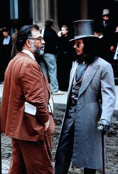 Francis Ford Coppola and Gary Oldman on the set of Dracula, 1992.