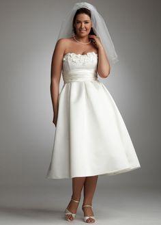 02d88cb63e462 davids bridal tea length satin with 3d floral details wedding dress Used Wedding  Dresses