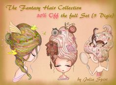 30% OFF the full Set of 5 Digital Stamps Coloring by JuliaSpiri