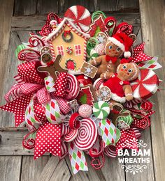 holiday wreaths Christmas Wreath, Holiday Swag, Holiday Wreath, Gingerbread Decor, Gingerbread WreaYou ca. Candy Land Christmas, Whimsical Christmas, Christmas Gingerbread, Christmas Door, Christmas Balls, Rustic Christmas, Christmas Holidays, Handmade Christmas, Cozy Christmas