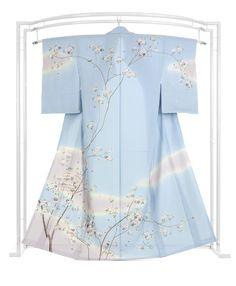 【夏物】 創作正絹手加工友禅絽訪問着 「可憐桜情緒」 ☆和のエレガンス。すうっと優しい風通り…|京都きもの市場