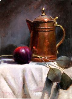 Copper and Plum by Kathy Tate Oil ~ 13 x 10 Still Life 2, Still Life Images, Still Life Drawing, Still Life Oil Painting, Still Life Flowers, Copper Art, Realistic Paintings, Still Life Photography, Pictures To Paint