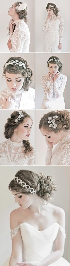 aside from the model disturbbingly looking like a 15 year old, these are lovely wedding hair dos!