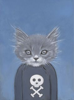 """Cats in clothes:  Henry - Matte Print - 8.5 x 11"""" - From Painting by Heather Mattoon"""