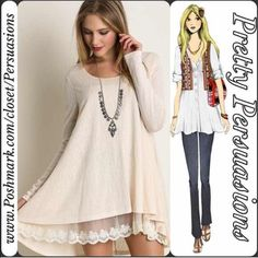 SOLD NWT Lace Trim Trapeze Tunic Top Mini Dress NWT Lace Trim Long Sleeve Trapeze Tunic Top   Available in sizes: S, M, L Measurements available upon request   Color: Natural (also available in mint in a separate listing)  Bundle discounts available  No pp or trades Pretty Persuasions Dresses Mini