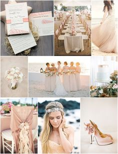 blush beach wedding inspiration on French Wedding Style