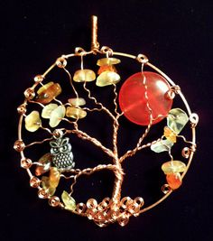 Copper Tree of Life Sun Catcher with Owl & Moon $38.00