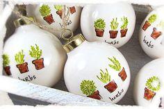 Hand Painted Porcelain Ornament with Little Herb Pots. $18.00, via Etsy.