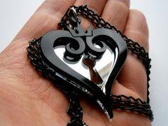 AHFDOSIHLFKDHFODSFD WAAANT! <3 Kingdom Hearts Hearts Emblem Necklace Laser by LaserCutJewelry, $11.85