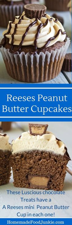 Reeses Peanut Butter Cupcakes A candy surprise in each one! Http://Homemadefoodjunkie.com