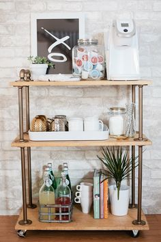 DIY Coffee Bar Cart, a rustic take on the classic bar cart, build it yourself an .DIY Coffee Bar Cart, a rustic take on the classic bar cart, build it yourself and use it for Diy Bar Cart, Gold Bar Cart, Bar Cart Styling, Bar Cart Decor, Bar Carts, Ikea Bar Cart, Coffee Bar Station, Home Coffee Stations, Drink Stations
