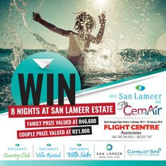 SAN LAMEER TOGETHER WITH CEMAIR IS RUNNING A COMPETITION! Book a flight with Cemair on the Johannesburg - Margate Route or the CPT – Margate Route (via Plettenberg Bay), accommodation through San Lameer Villa Rentals or the San Lameer Resort Hotel between 03 October 2017 – 29 January 2018. Receive an entry when you book flights from JHB - Margate Route or the Cape Town – Margate Route (via Plettenberg Bay) on Cemair or receive an entry for each night spent at Villa Rentals & the Hotel. 5 Star Spa, Book Flights, Stay The Night, Tropical Paradise, Hotel Spa, Luxury Villa, Cape Town, Hotels And Resorts, January 2018
