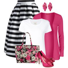 Black and White Stripes with Pink