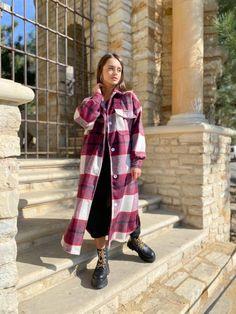 Flannel Coat, Plaid Coat, Wool Coat, Suits For Women, Women Wear, Clothes For Women, Poncho Coat, Two Piece Jumpsuit, Plus Size Coats