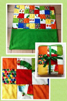 Padded patchwork blanket in the very hungry caterpillar fabric backed with a grass green fleece