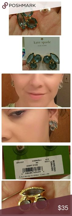 SKYS THE LIMIT!! Beautiful, new, sky blue kate spade earrings. No longer can find the original pouch but will include either a plain pouch or box. So pretty just never used them except for thses pics. They have kate spade engraved on the back too. kate spade Jewelry Earrings