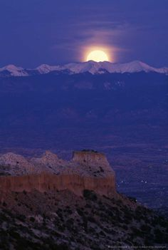 Image detail for -Moonrise over Truchas Peak, red rock mesa and rural lights in Rio Grande valley, New Mexico, USA.