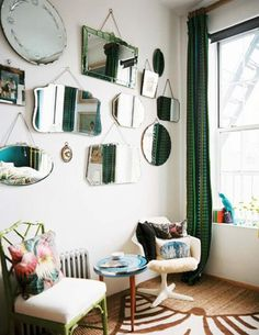 Things to Hang on the Wall That Are not Frames: Mirrors: About home http://interiordec.about.com/od/AphroChic-About-Decor/ss/10-Things-To-Hang-On-The-Wall-That-Arenrsquot-Frames.htm?utm_content=buffer100b2&utm_medium=social&utm_source=google&utm_campaign=cmsocialposting_aboutmain#step10