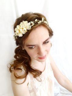 ivory flower circlet - VANILLA BEAN - bridal head wreath, flower girl, rustic